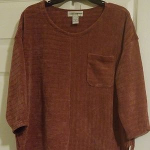 Solid Crew Neck Ribbed Sweater